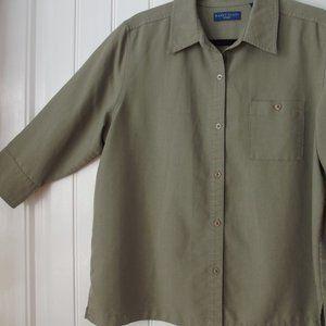 Karen Scott Sage Green Shirt Size Large 3/4 sleeve